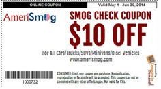 Get $10 off on Smog Check Coupons at AmeriSmog. Smog Check Coupon available for all cars, trucks, SUVs, Minivans, Diesel vehicles, etc.