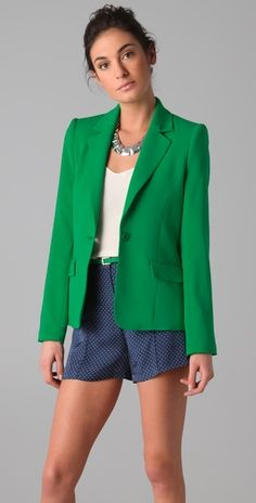 alice + olivia. Great blazer and shorts and top and jewelry. I guess I just love everything about it.