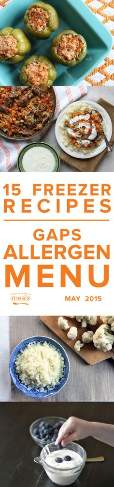 GAPS Allergen Menu May 2015 Once a Month Meals | Freezer Cooking | Freezer Meals | Custom Menus | Menu Planning | GAPS Protocol