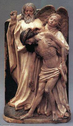 Relieve de la Trinidad de Fráncfort (h.1430) de Hans Multscher. -Escultura gótica del Imperio y centroeuropea S.XIV-XV.