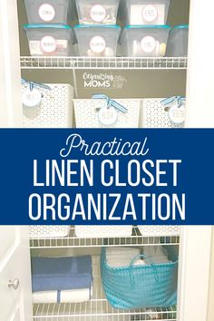 How to declutter and organize your linen closet. Tips for using baskets and bins to organize it all! #Organizing #Decluttering #organizingmoms Linen Closet Organization, Home Organization Hacks, Closet Storage, Storage Bins, Bathroom Organization, Organizing Solutions, Bathroom Linen Closet, Small Closet Space, Relaxing Bathroom