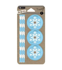 Jar Jewelry Lid and Straw 3 Pack-Blue Snowflake