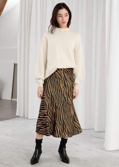 6dc1044bd2 And other stories Zebra Print Midi Skirt