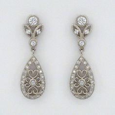 CZ filigree teardrop earrings.  A classic bridal earring & evening earring.  On sale now.  Limited availability. #2