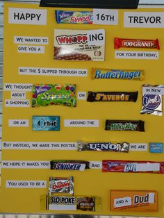 """Sweet"" Candy Bar Poster 1 of 2 Boy 16th Birthday, Sweet 16 Birthday, Birthday Fun, Birthday Ideas, Birthday Presents, Candy Cards For Birthday, 16th Birthday Gifts For Best Friend, Homemade Birthday, Birthday Recipes"
