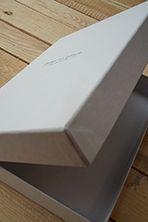 Luxe scharnierdoosje, beplakt met luxe ongestreken wibelin papier.