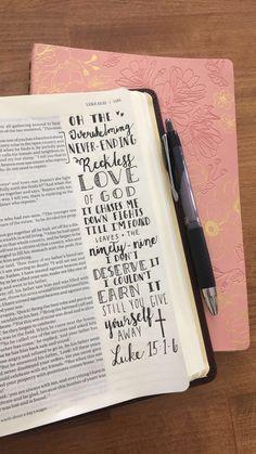 Bible Journaling - Reckless Love of God by Bethel Music - Luke 15:1-6