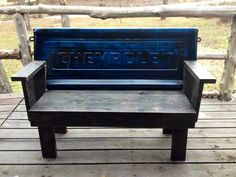 My husband made this bench from an old Chevrolet tailgate and old pallets :) benches made from tailgates, tailgat bench, chevi bench