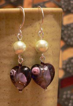 Purple glass earrings, Lampwork beads, Purple hearts, green glass pearl, pearl earrings, heart earring, boho earring, dangle earring by sallysbeadsnc on Etsy