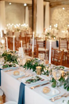 Long Table Centerpieces, Greenery Centerpiece, Centerpiece Ideas, Table Decorations, Table Numbers, Floral Design, Table Settings, Reception, Candles