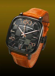 Mechanische Uhr: Alexander Shorokhoff lanciert die Uhr Kandy, deren Zifferblatt eine quadratische, dreidimensionale Guillochierung trägt. [2075]