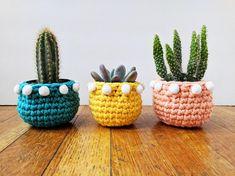 pom pom planter crochet pattern crochet mini planter succulent planter cactus plant pot cover croche