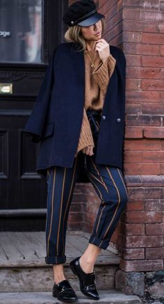 fall office outfit ispiration / brown sweater + coat + hat + striped pants + loafers ♦๏~✿✿✿~☼๏♥๏花✨✿写❁~⊱✿ღ~❥椿⁕SA Sep ~♥⛩☮️ Fall Office Outfits, Fall Winter Outfits, Autumn Winter Fashion, Casual Outfits, Comfortable Outfits, Fashion Mode, Work Fashion, Womens Fashion, Brown Sweater