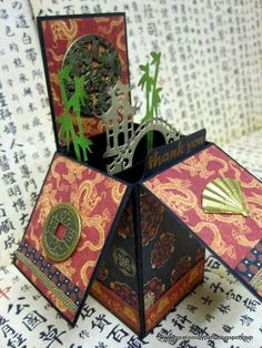 Creations by Patti Cute Chinese pop-up card with a bridge and bamboo. Creative Box, Creative Cards, Box Cards Tutorial, Asian Crafts, Mini Albums, Pop Up Box Cards, Valentines Greetings, Unique Cards, Greeting Cards Handmade