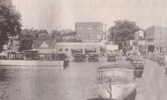 This is a view from the upper Street dock in Alexandria Bay in years gone by. The site on left later became Empire Boat Lines.