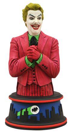Busto The Joker 15 cm. Versión año 1966. Batman. Diamond Select Excelente busto muy bien pintado y moldeado del malvado The Joker de 15 cm de altura perteneciente a la exitosa serie de TV de Batman emitida en el año 1966. Un precioso recuerdo para cualquier fan, sin duda.