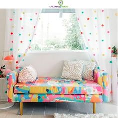 DIY Pom-Pom Curtains: Oh Joy! for Target in Kelly's Golightly's guest bedroo. DIY Pom-Pom Curtains: Oh Joy! for Target in Kelly's Golightly's guest bedroo… DIY Pom-Pom Curtains: Oh Joy! for Target in Kelly's Golightly's guest bedroom. Decoration Bedroom, Diy Room Decor, Living Room Decor, Room Decorations, Decor Crafts, Diy Crafts, Pom Pom Curtains, Diy Curtains, Kids Room Curtains