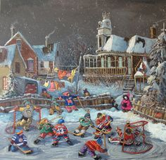 Comme on aime jouer au hockey 36 x 36 www.paulinepaquin,com Canada Images, Hockey Mom, Canadian Artists, Illustrations, Oil Painting On Canvas, 21st Century, Original Paintings, Artwork, Pictures