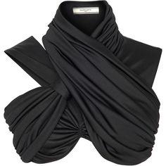 Fluid Jersey Draped Crop Top ($2,290) ❤ liked on Polyvore featuring tops, crop tops, shirts, black, shirt crop top, bouchra jarrar, drapey shirt, draped tops and jersey top
