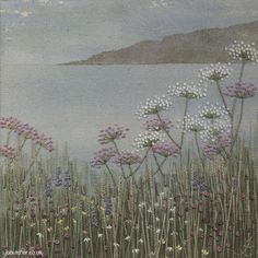 Seascape -- dreamy painted background, stitching on top