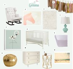 Pink, aqua, white and gold glam girl's nursery. I'm a sucker for flamingos and I love the use of mid-century modern lines in a nursery. Nursery Inspiration Board: Sunny Little Flamingo - Sweet Gemma Nursery Room, Girl Nursery, Kids Bedroom, Baby Room, Bedroom Ideas, Nursery Modern, Modern Nurseries, Nursery Inspiration, Palm Beach