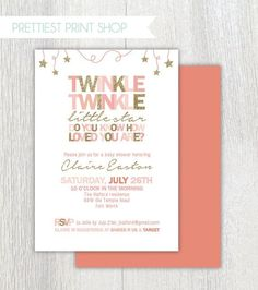 Printable Twinkle Twinkle Little Star invitation - Pink and gold - Twinkle twinkle baby shower - Birthday invitation - Customizable by carlene