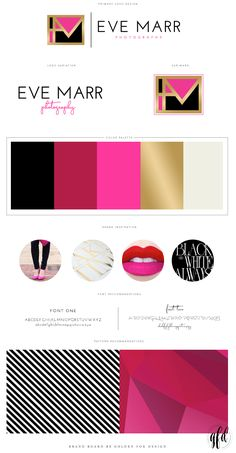 Inspiration Brand Board for Eve Marr Photography by Golden Fox Design | Brand Reveal | Stationary | Business Card | Branding | Brush Pen | Calligraphy | Lettering | Gold Foil | Hot Pink | Red | Lips | Modern | Branding | Business Brand  Latest News & Trends on #webdesign and #webdevelopment | http://webworksagency.com