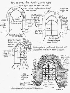 How to Draw The Rustic Garden Gate With A Stone Arch