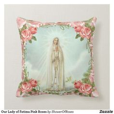 Our Lady of Fatima Pink Roses Throw Pillow #catholic #traditionalcatholic #pillows #christmasgifts #fatima
