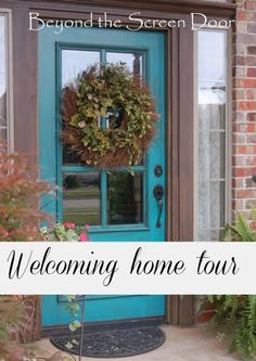 Welcoming home tour, with lots of diy fabric projects, pillows, window treatments and more.