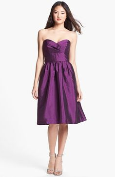 Alfred Sung Strapless Satin Fit & Flare Dress | Nordstrom