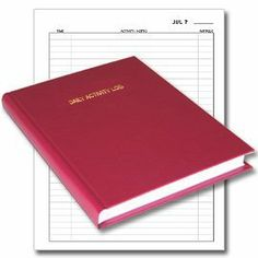 """BookFactory® Daily Activity Log Book / 365 Day Log Book / 365 Page Diary, Red Cover, Smyth Sewn Hardbound, 8 7/8"""" x 11 1/4"""" (L..."""