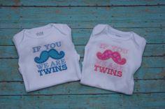 Mustache twins shirt set by MaddieMayDesigns on Etsy, $35.00