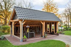 shed building plans Backyard Pavilion, Outdoor Pavilion, Backyard Sheds, Backyard Patio Designs, Backyard Landscaping, Outdoor Buildings, Garden Buildings, Bbq Shed, Garden Sink