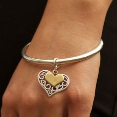 Filigree and mini heart bangle, two tone – orlijewellery