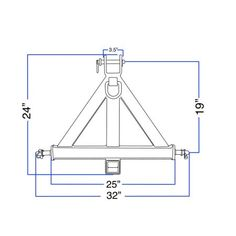 """Heavy Duty 3 Point 2"""" Receiver Trailer Hitch Category 1Tractor Tow Drawbar Pull Image 4 of 6"""