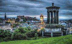 Edimburgo, Escócia, noite, árvores, gazebo, cidade, luzes, Nuvens Papéis de Parede Preview