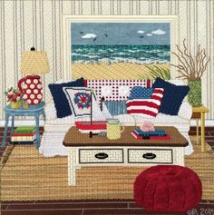"""Sandra Gilmore needlepoint """"At the Seashore"""". Stitch guide by Tony Minieri. Stitched by Ginger Brennecke."""