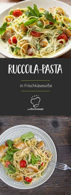 Super lecker und in nur 25 Min. fertig: Die Rucola-Pasta mit Frischkäsesauce, Putenstreifen und Cocktailtomaten sind ein tolles Gericht, wenn es etwas Feines sein soll, aber trotzdem schnell gehen muss.