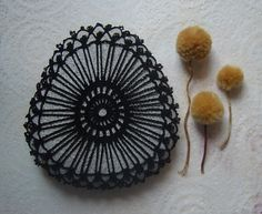 Crocheted Lace Stone, Black, Large, Handmade, Rounded Triangle