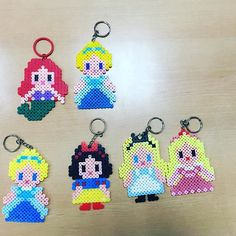 Disney Princess keychains perler beads by wonderlond_ken