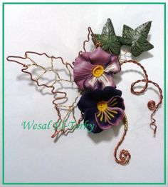 wire and clay flower brooch