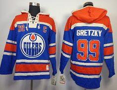 3cd2bce37ab Edmonton Oilers  99 Wayne Gretzky Blue Hooded Sweatshirt on sale