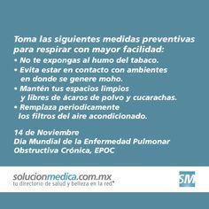 Hoy es el Día Mundial de la Enfermedad Pulmonar Obstructiva Crónica, Toma medidas preventivas para respirar mejor.