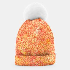 """""""Autumn foliage"""" Beanie by Savousepate on Live Heroes #clothing #apparel #accessory #orange #yellow #red #foliage #leaves #nature #autumncolors #fallcolors #pattern #drawing #watercolor"""