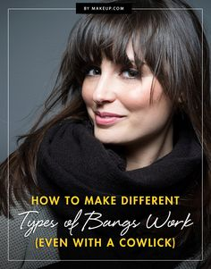 Hair Tutorials : Picture DescriptionFor us girls, bangs are a terrifying concept, especially if you've never tried them before. We talked to a hair pro who will tell you all the different types of bangs, their pros and cons, and how to style them! Cowlick Hairstyles, Haircuts With Bangs, Diy Hairstyles, Hairstyle Ideas, How To Cut Bangs, How To Style Bangs, Cut Side Bangs, Trending Haircuts, Natural Hair Tips