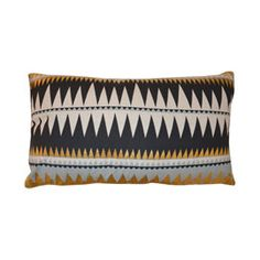 Coussin Juneau tribal Noir Doré et Beige 30 x 50 cm