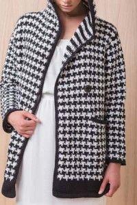 Crochet Coat, Crochet Jacket, Crochet Clothes, Tunisian Crochet Patterns, Crochet Stitches, Only Cardigan, Houndstooth Coat, Linen Stitch, Coat Patterns