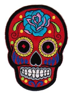 Mexican Sugar Skull Aufnäher Bügelbild Aufbügler Iron on Patches Applikation…