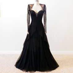 1940s Evening Gown, 40s Black Lace Silk Designer Dress, Sweetheart Plunge Illusion Back Hollywood Glamour Sraeel & Jabaly Vintage Gown. $500.00, via Etsy.